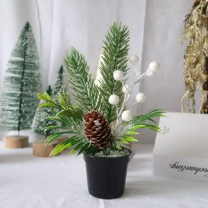Potted Pine Mini Tree with Pine cone