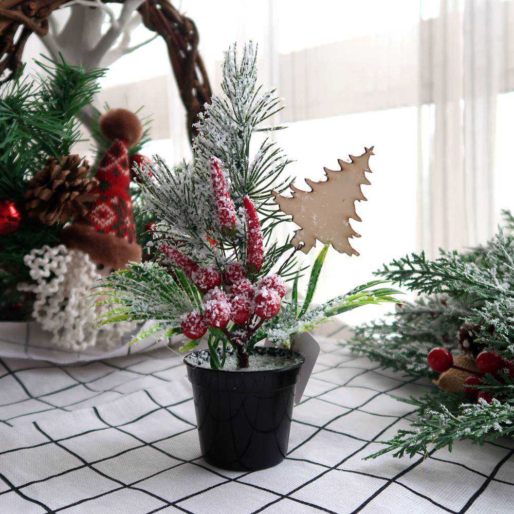 Frosted Table Top Mini Tree with Plastic Flowerpots Base