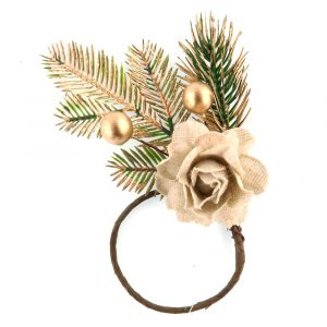 Gold Napkin Rings Handmade by Pine Cones and Berries