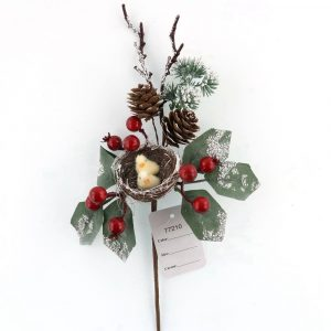 Christmas Berries Pick Frosty Holly Pine Cone Picks Stem