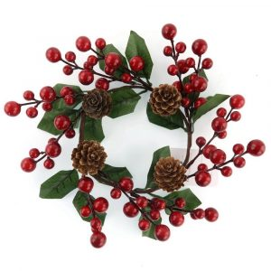 Handmade Red Berries Candle Ring for Home Decor