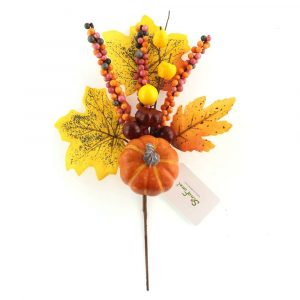 Artificial Pumpkin and Fall-color Berry Picks