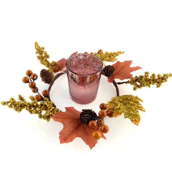 Artificial Leave and Berry Candle Table Centerpiece Decor