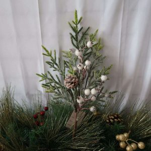 Icy Holly Branch White Berry Picks Wholesale