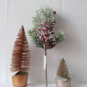 Artificial Snowy Red Berry and Pine Cone Stem