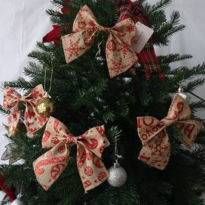 Bow Ornaments with Glitter Printing