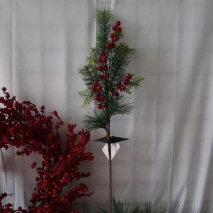 Christmas Picks with Pine Needle and Red Berries