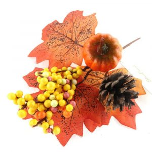 Artificial Pumpkin and Maple Leaf Spray