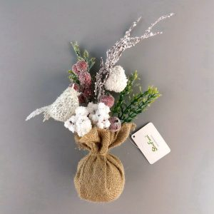 Frosted Burlap Table Top Mini Tree