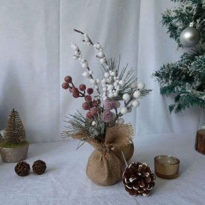 Tabletop Mini Tree with Frosted Red Berries for Christmas Decor