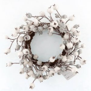 Candle Rings with Frosted White Berries