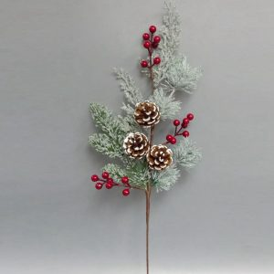 Red Berry and Pine Corn Pick for Christmas Decor