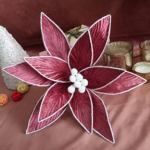 Rose Red Poinsettia Stem with White Edge