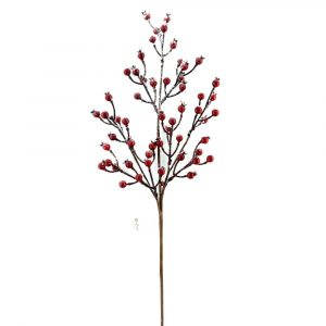 Realistic Frosted Red Berry Branch Xmas Tree Decoration