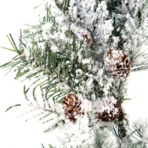 Winter Frosted Pine Needle and Pine Cone Wreath Xmas Decor