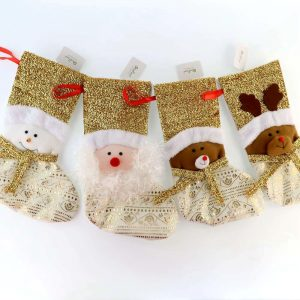Classic Gold Fabric Handmade Stocking for Party Decoration