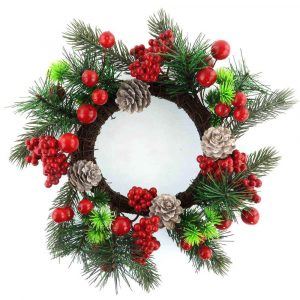 Artificial Wreath with Berries, Pine and Pine Cone Wholesale
