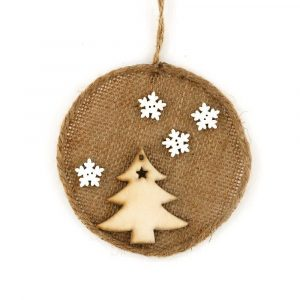 Burlap Christmas Hanging Ornaments with A Christmas Tree Pattern