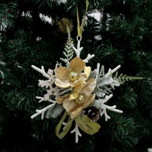 Snowflake with Pine Cone Wall Hanger Christmas Ornaments