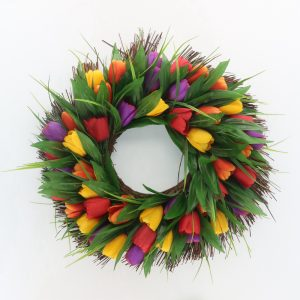 Artificial Spring Wreath with Tulip for Wall Decoration