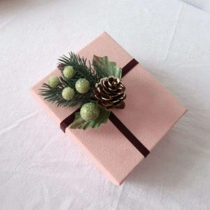 Glitter Green Berry and Pine Cone Floral Pick