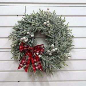 Artificial Cedar Twig and White Berry Wreath