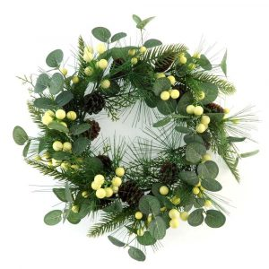 Artificial Eucalyptus and Pine Cone Wreath