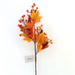 Autumn Stem with Maple Leaf and Orange Berries