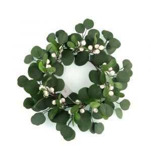 Polyester Green Wreath with Creamy White Berries