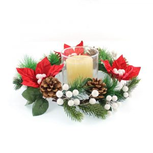 Artificial Poinsettia and Pine Cone Candle Ring Wholesale