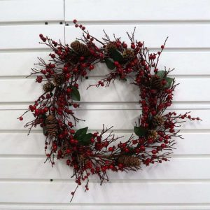 Vivid Artificial Pine Cone and Red Berry Wreath