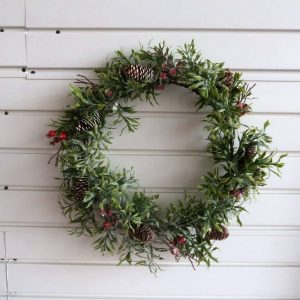 Artificial Green Leaves Wreath Greenery Wreath Front Door Decor
