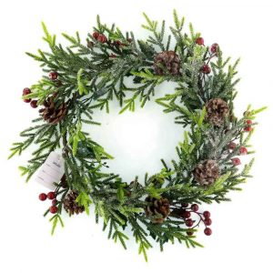 Frosted Cedar Twig and Pine Cone Wreath Manufacturer