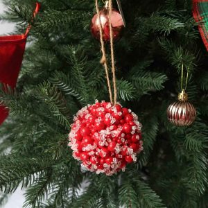 Christmas Beaded Red Berry Kissing Ball Hanging Ornaments