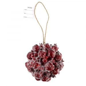 Frosted Red Berry Kissing Ball Ornaments Xmas Tree Decor