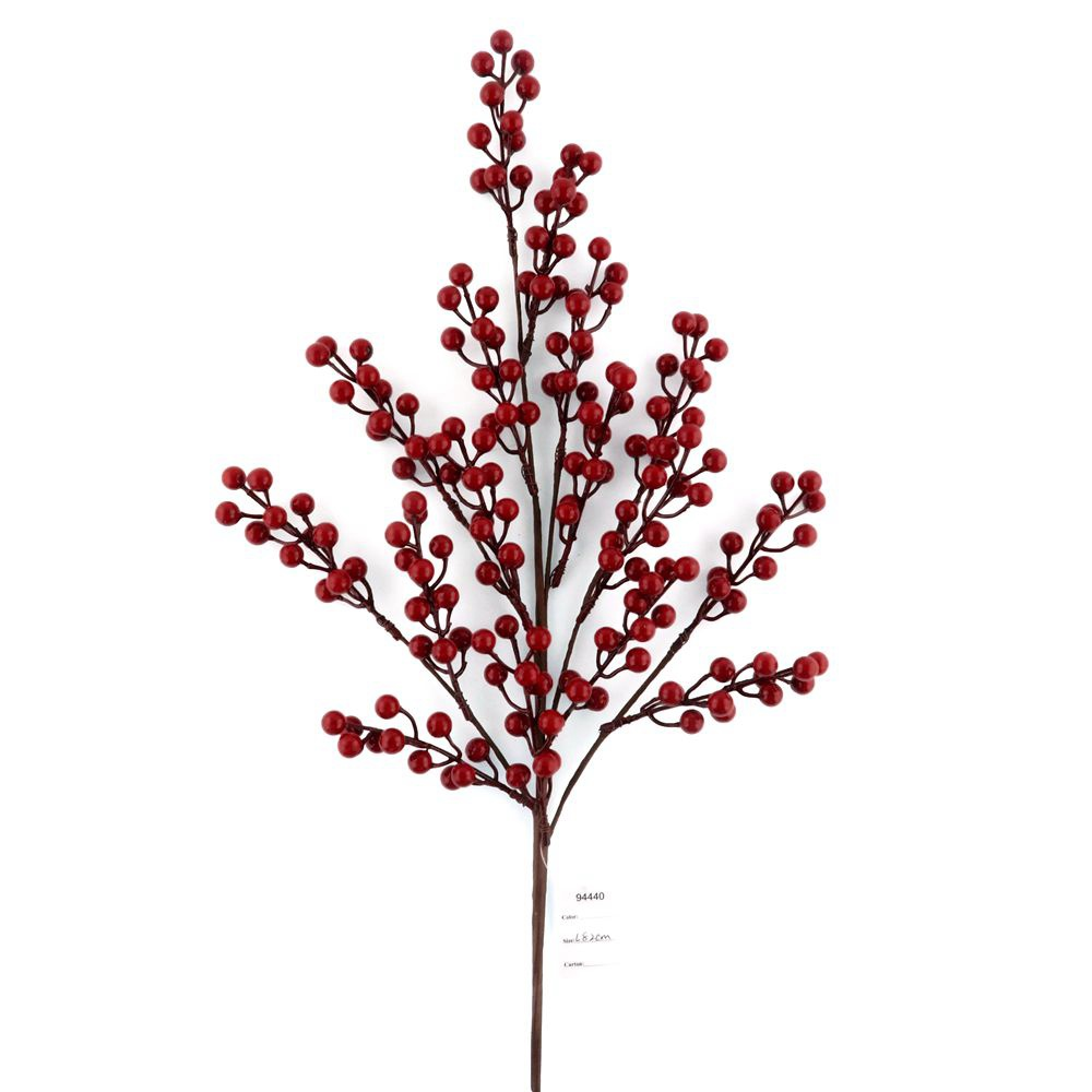 Artificial Christmas Glossy Holly Red Berry Branch