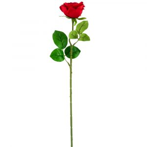 Small Open Rose Stem Artificial Silk Flowers -Red