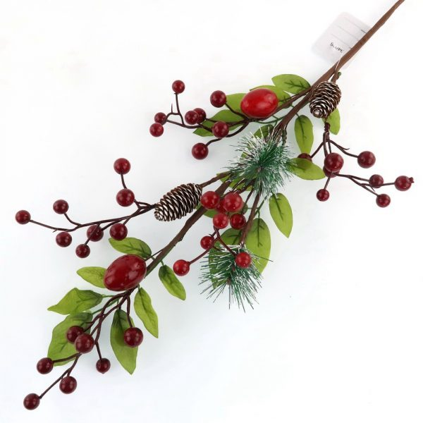 Artificial Assorted Holly Red Berry and Pine Corn Branch Wholesale
